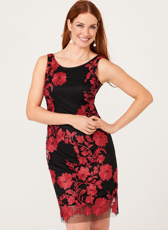 Embroidered Mesh Sheath Dress, Black, hi-res