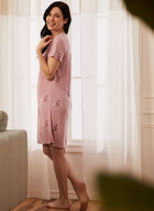 Robe de nuit fleurie à détail de dentelle, Rose