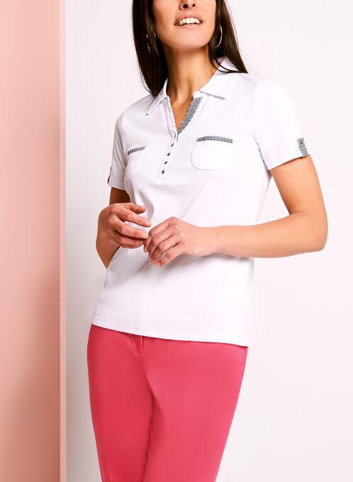 Polo coton avec poches et détails à carreaux, Blanc, hi-res