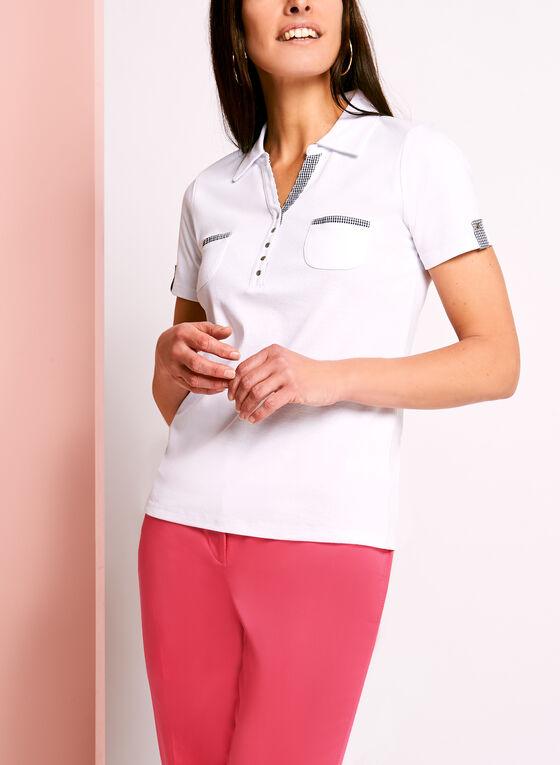 Dual Pocket Gingham Cotton Polo, White, hi-res
