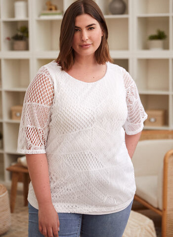 Double Layer Crochet Top, White,  spring summer 2021, top, tee, t-shirt, t shirt, made in Canada, boat neck, round neck, double layer,