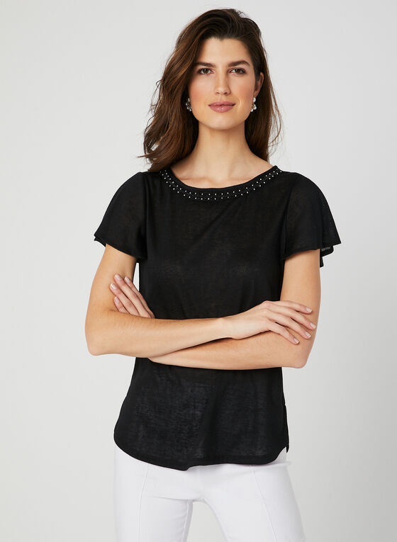 Flutter Sleeve T-Shirt, Black, hi-res