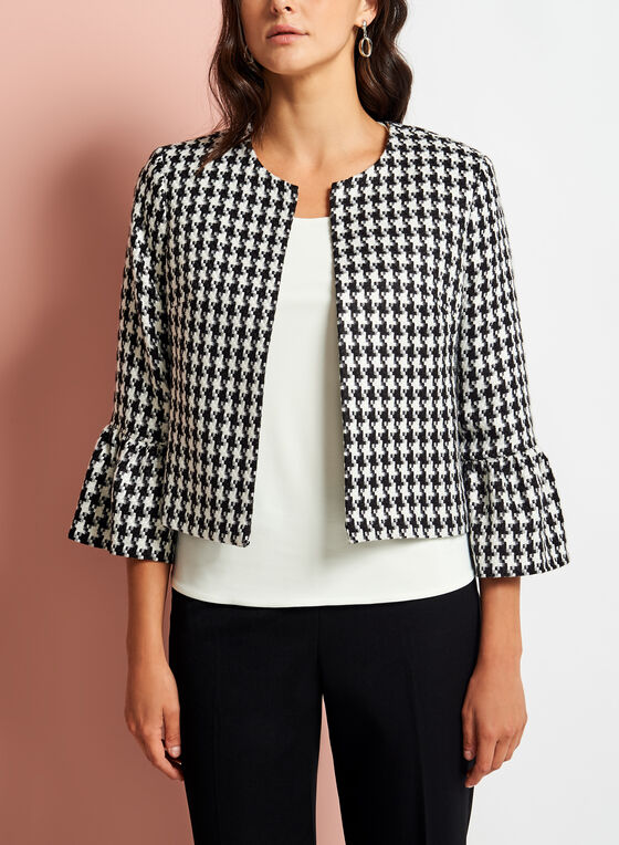Houndstooth Print Bell Sleeve Blazer, White, hi-res