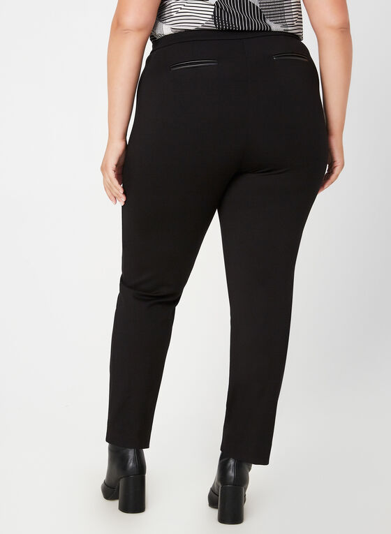 Pantalon signature à jambe droite, Noir