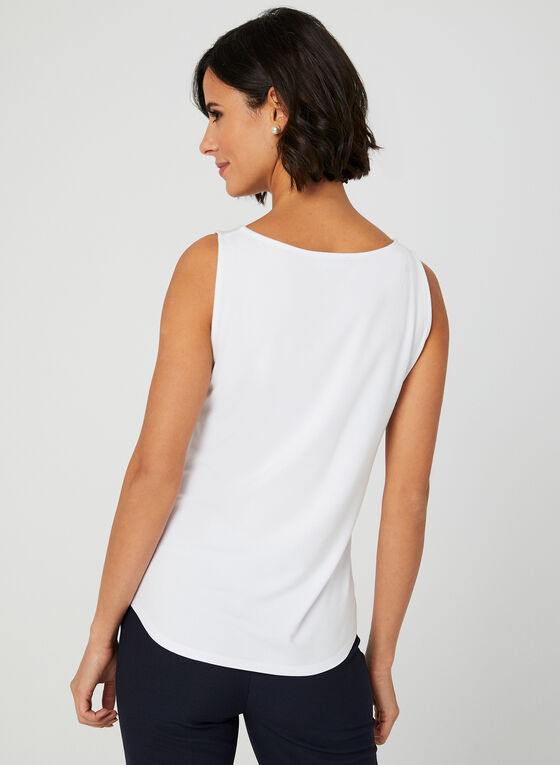 Sleeveless Scoop Neck Top, White, hi-res