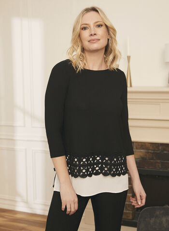 Embroidered Hem Layered Top, Black,  spring summer 2020, crepe, 3/4 sleeves, crochet embroidered hem