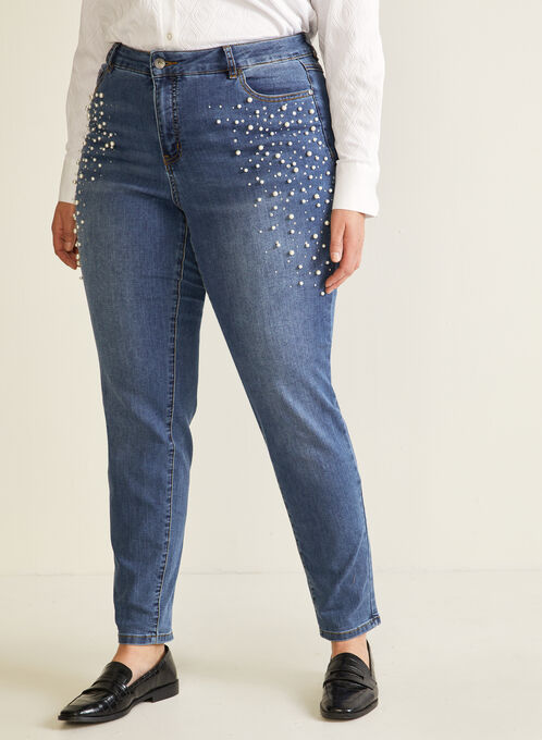 Pearl Embellished Straight Leg Jeans, Blue