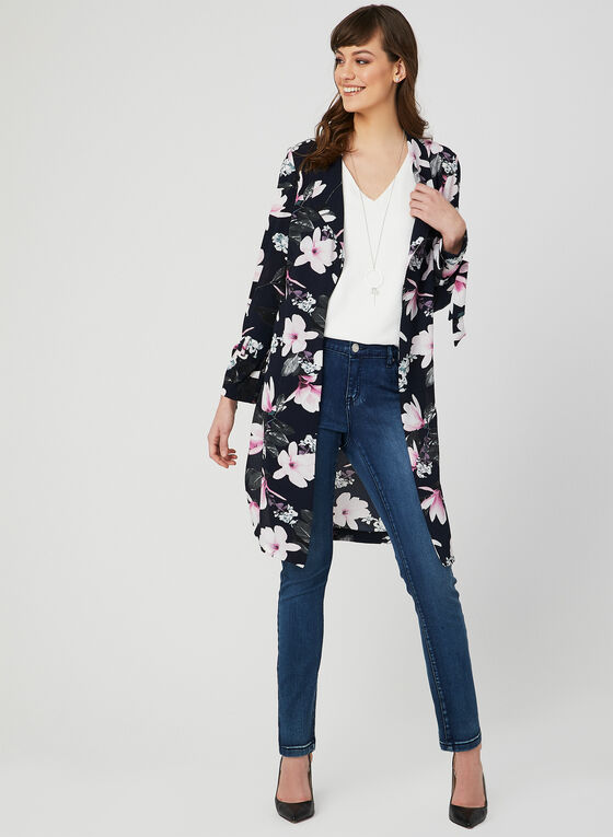 Floral Print Duster Jacket, Blue