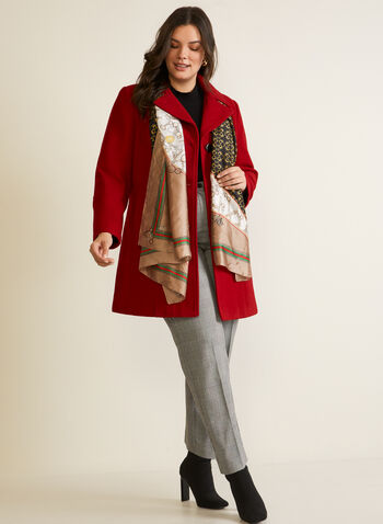 Structured Wool Blend Coat, Red,  fall winter 2020, notched, lapel, pea coat, coat, long sleeves, wool blend, holiday
