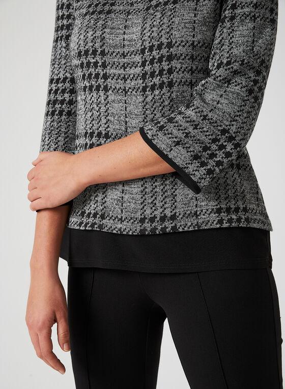 Haut en tricot à motif pied-de-poule, Gris, hi-res