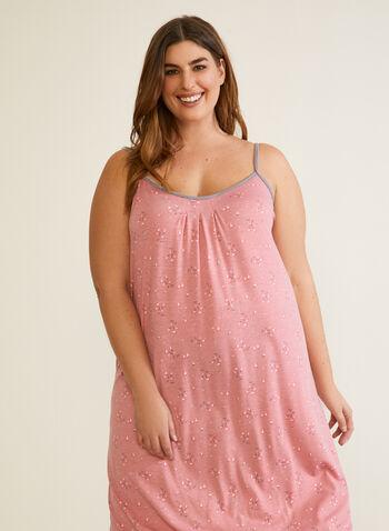 Spaghetti Strap Long Nightgown, Pink,  fall winter 2020, nightgown, straps, pyjama