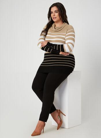 Pantalon coupe cité à taille élastique, Noir,  automne hiver 2019, point de rome, pantalon, jambe étroite, coupe cité, pull-on, taille élastique, legging
