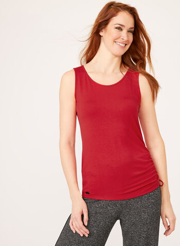 Tie Side Tank Top, Red, hi-res