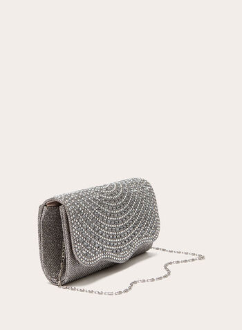 Crystal Embellished Flapover Clutch, Off White, hi-res
