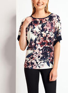Floral Print ¾ Kimono Sleeve Top , Red, hi-res