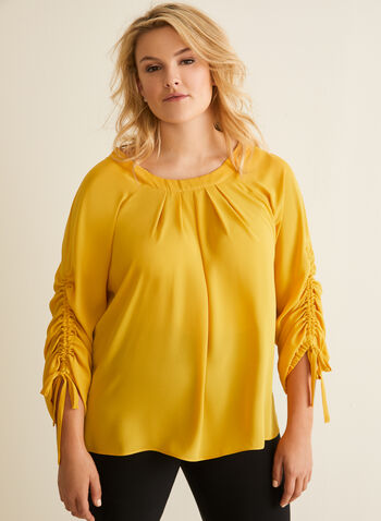 Joseph Ribkoff - Drawstring Sleeve Blouse, Yellow,  top, blouse, drawstring, pleated, crepe, elastic, spring summer 2020