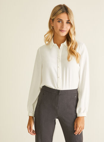 Lace Trim Button Front Blouse, White,  blouse, shirt, button front, lace, fall winter 2020