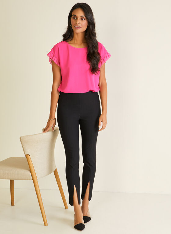 Front Slit Leggings, Black