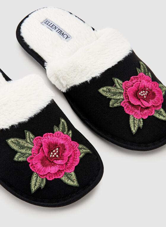 Ellen Tracy - Pantoufles à broderies florales, Noir, hi-res