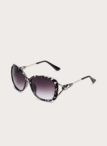 Large Square Plastic Sunglasses, Grey, hi-res