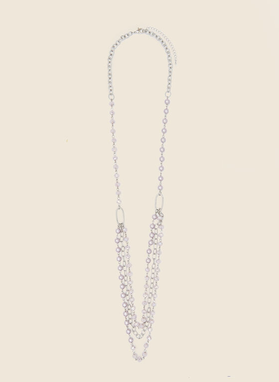 Tiered Chain & Pearl Necklace, Purple