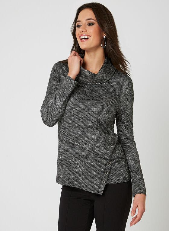 Haut en tricot texturé et détails boutons, Gris, hi-res