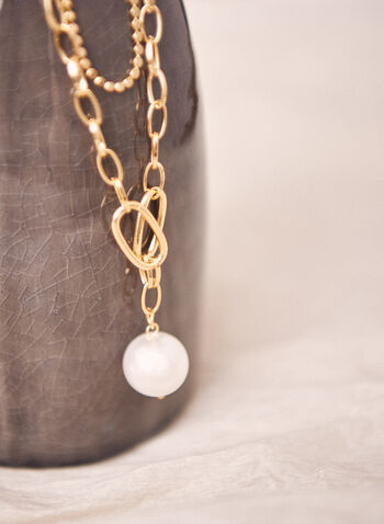 Mixed Chain Pearl Pendant Necklace, Off White,  necklace, jewellery, accessories, chain, pearl, pendant, double, spring summer 2021