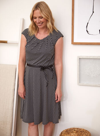 Polka Dot Print Dress, Black,  spring summer 2021, dresses, made in Canada, boat neck, scoop neck, crew neck, sash, ribbon, dotted print, spotted print, fluid,
