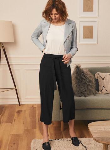 Tie Detail Gaucho Pants, Black,  pants, gaucho, tie, pleats, wide leg, crepe, spring summer 2020