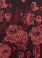 Floral Print Fringed Scarf, Black, hi-res