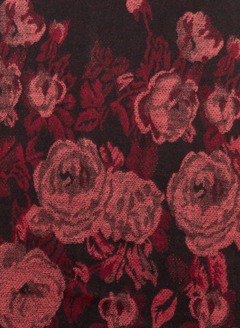 Écharpe à franges bouquet de roses , Noir, hi-res