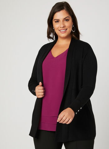 Edge To Edge Knit Cardigan, Black, hi-res