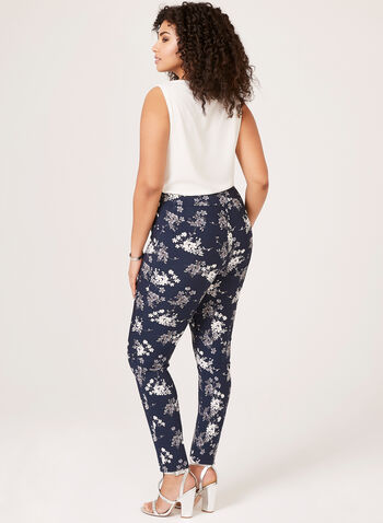 Floral Slim Leg Pants, Blue, hi-res