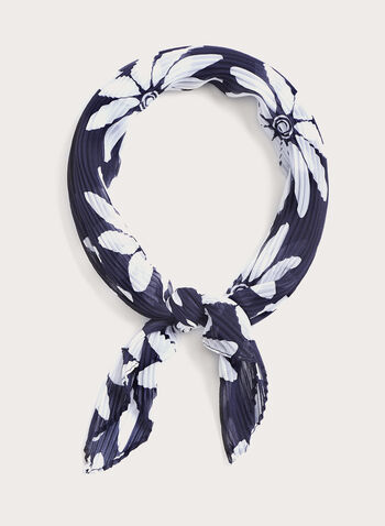 Floral Print Neckerchief, Blue, hi-res