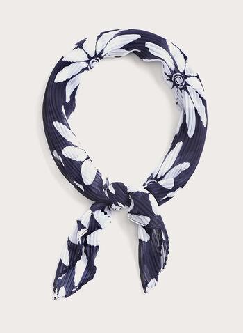 Foulard carré de soie imprimé floral, Bleu, hi-res