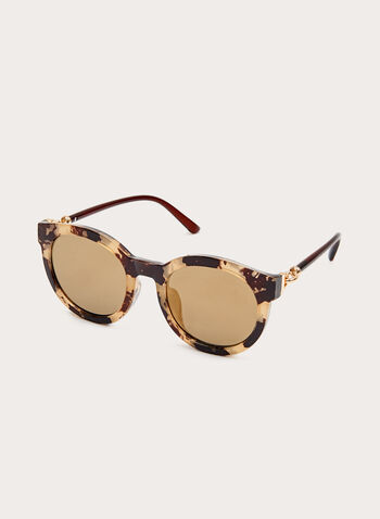 Plastic Panto Sunglasses, Brown, hi-res
