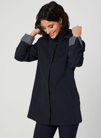 Manteau imperméable à capuchon amovible, Bleu,