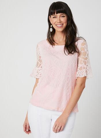 Floral Print Mesh Top, Pink,  bell sleeves, elbow sleeves, jersey, spring 2019, summer 2019