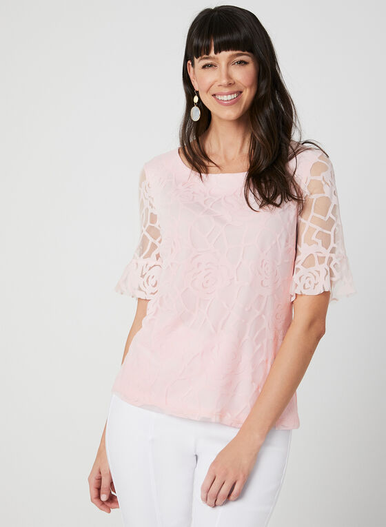Floral Print Mesh Top, Pink