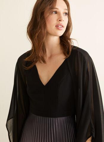 Chiffon Shawl, Black,  spring summer 2020, shawl, chiffon, kimono sleeves