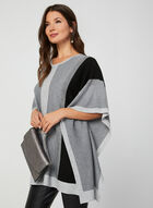 Colour Block Knit Poncho, Grey