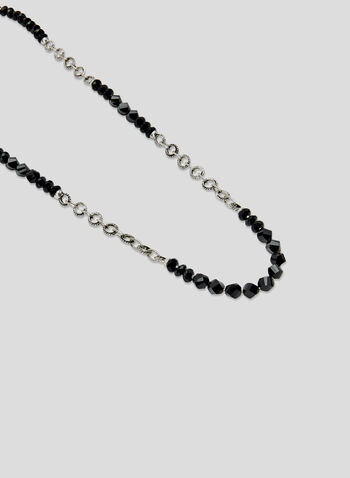 Long Beaded Necklace, Black, hi-res