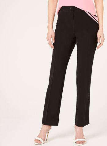 Pantalon coupe signature à jambe droite, Noir, hi-res,  printemps,été