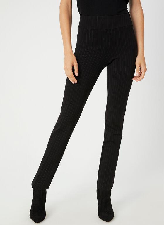 Pantalon coupe cité à fines rayures, Noir