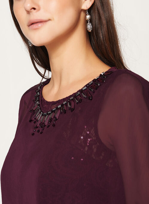 Sequin Lace Dress with Chiffon Poncho, Red, hi-res
