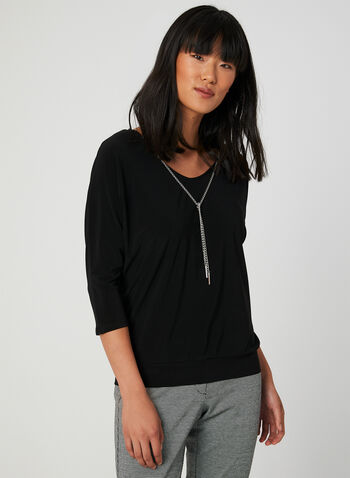Dolman Sleeve Top, Black, hi-res,  Canada, jersey, top, 3/4 sleeves, dolman, V-neck, fall 2019, winter 2019