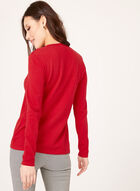 Knit Lace Up Sweater, Red, hi-res
