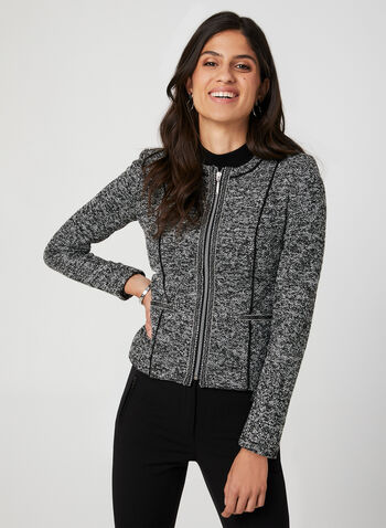 Long Sleeve Bouclé Jacket, Grey,  boucle,