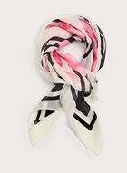 Foulard carré à motif floral, Noir, hi-res