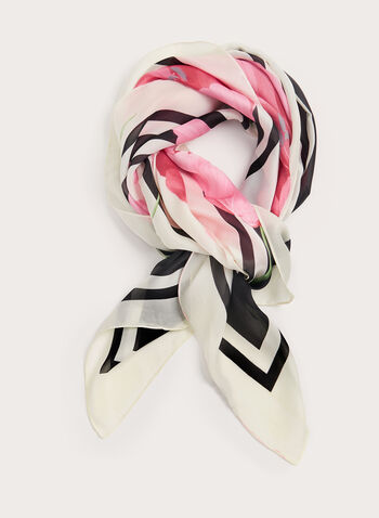 Tulip Print Scarf, Black, hi-res